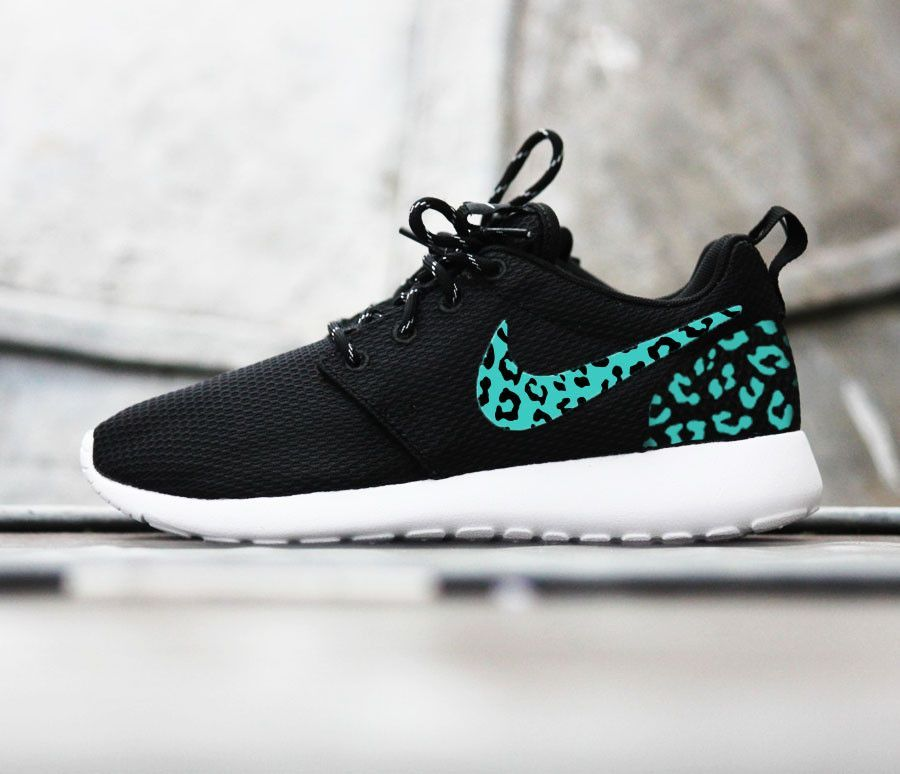 Custom Nike Roshe Run sneakers, teal blue cheetah print, leopard print, womens  custom