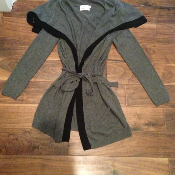 Cardigan Sweater by Yoon Grey with black trim. Tie front and never worn. Yoon  Sweaters Cardigans
