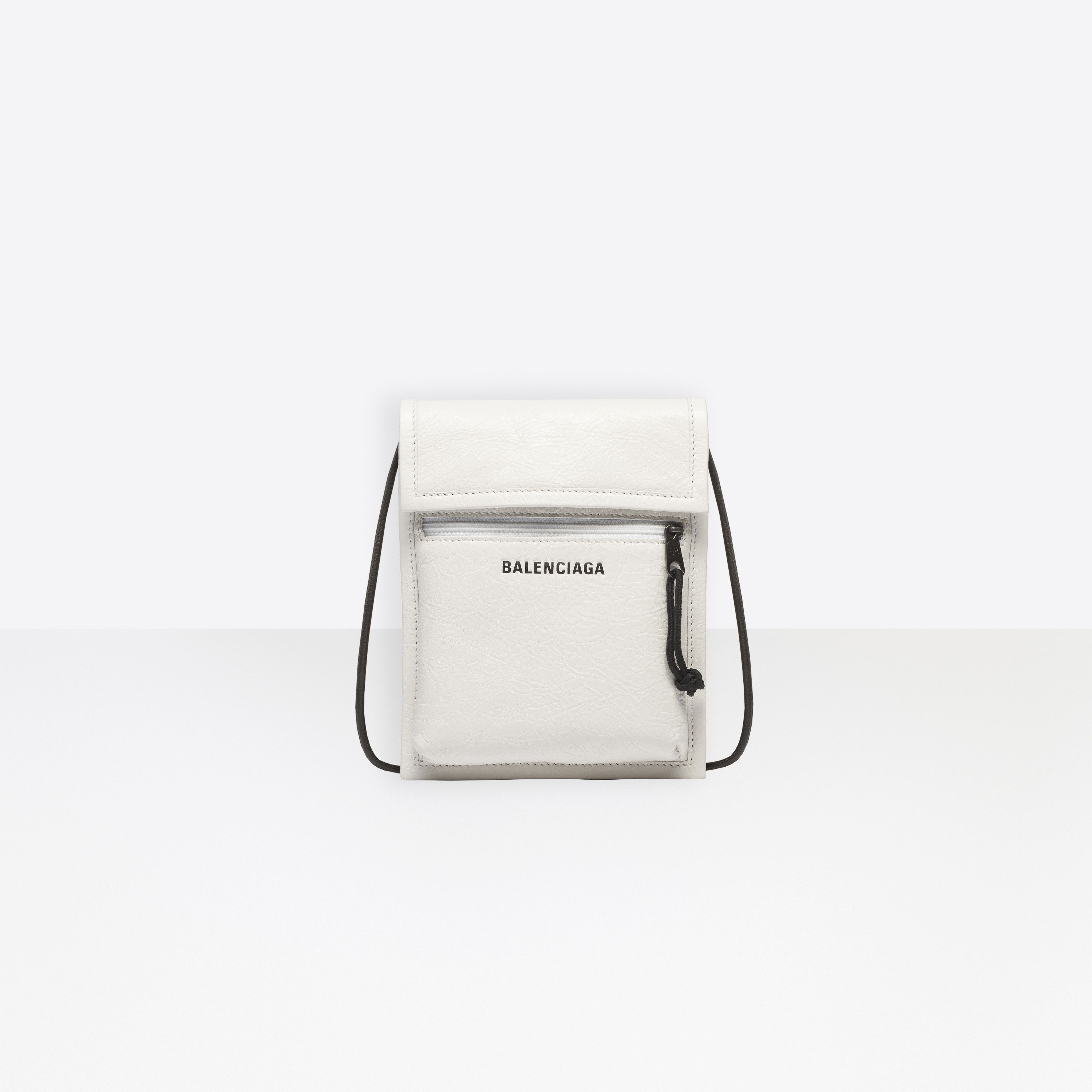 Explorer Pouch Strap Leather White for