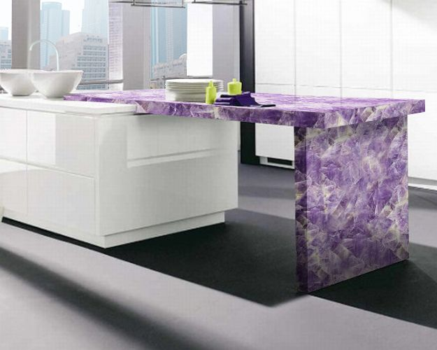 Amethyst is a semiprecious stone and one of the most for Most expensive kitchen countertops