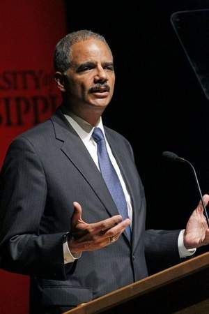 Eric Holder speaks blocks away from where U.S. marshals battled rioters a half-century ago in an effort to compel the admission of the first black student to University of Mississippi, James Meredith.  9/27/20012 at University of Mississippi