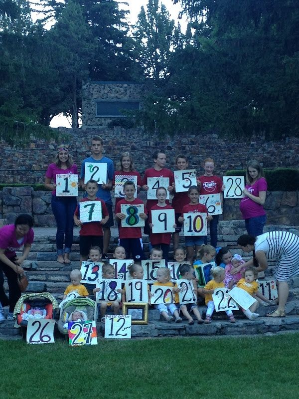 Awesome family reunion picture idea- grandkids with # and then another pic with spouses and great grands too?