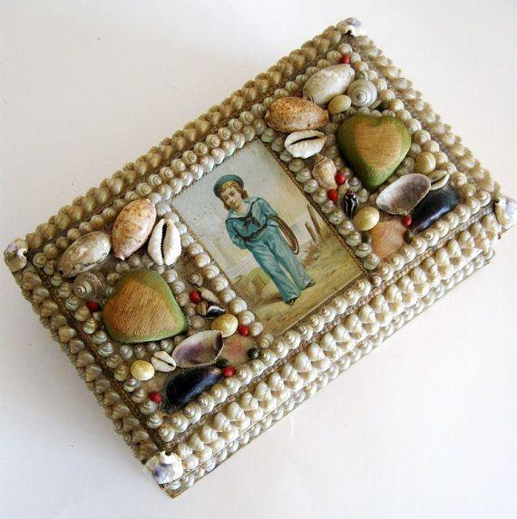 Vintage Victorian Shell Jewelry Box Sailors Seashell Trinket Box
