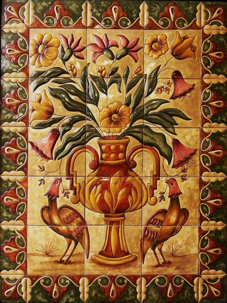 "Custom Made Ceramic Tile Hand Painted Mural ""Florals ..."