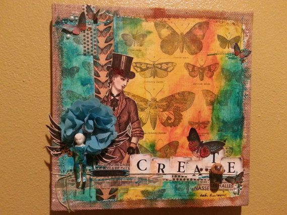 Steampunk Lady Mixed Media Collage by ArtbyColorMeHeather on Etsy, $125.00