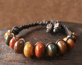Macrame Bracelet Earthy Madagascar Chestnut Jasper Colorful Beaded Stone Woven Linen