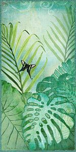 Tropical Rainforest Painting - Rainforest Tropical - Philodendron Elephant Ear And Palm Leaves W Botanical Butterfly by Audrey Jeanne Roberts #elephantearsandtropicals Tropical Rainforest Painting - Rainforest Tropical - Philodendron Elephant Ear And Palm Leaves W Botanical Butterfly by Audrey Jeanne Roberts #elephantearsandtropicals
