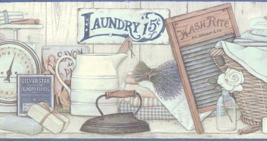 Vintage Laundry Room Wallpaper Border In 2020 Laundry Room