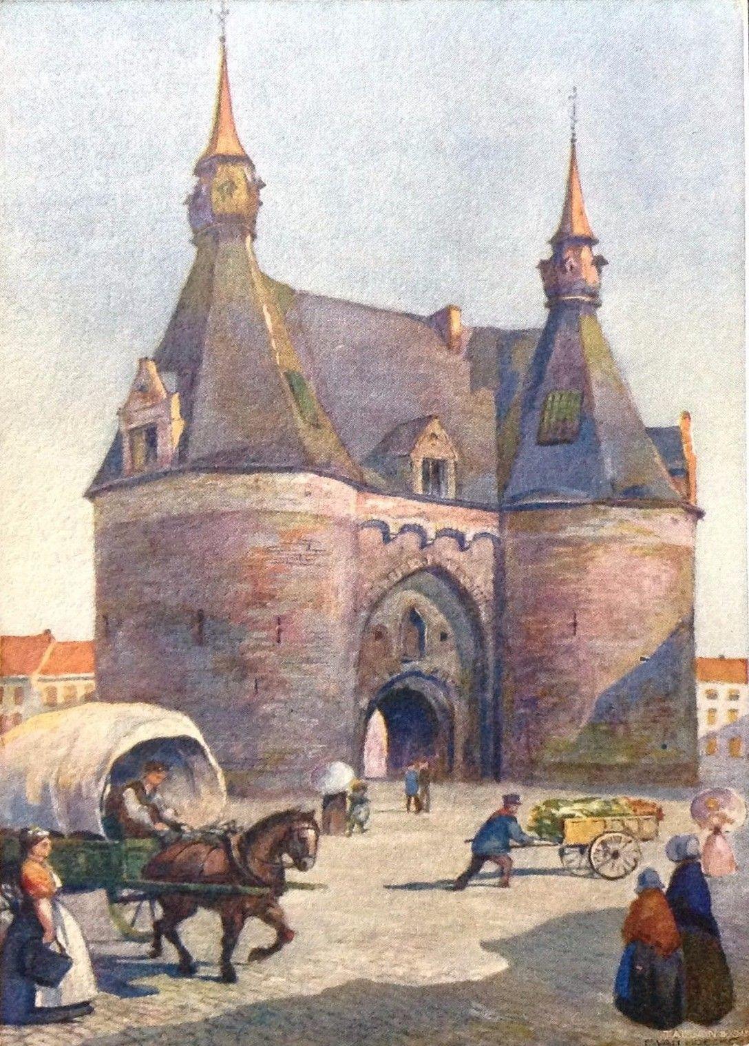 Mechelen / Malines - De Brusselsche Poort - La Porte de Bruxelles (aquarel / aquarelle). Jaar, artiest : ongekend