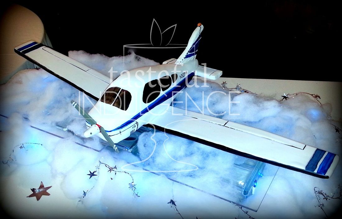 Cessna airplane cake with 3 foot wing span.  Displayed on glass over twinkle lights in cotton and stars.  Sculpted/3D, groom's cake.   #caketodiefor  Seward, Nebraska
