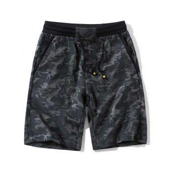 DressLily - Dresslily Pockets Camo Pattern Drawstring Waist Shorts - AdoreWe.com