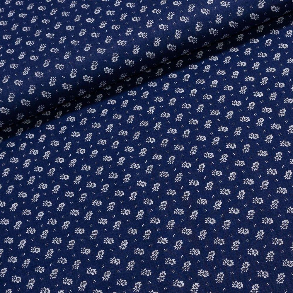 Bavlněné plátno bílé kytičky na tmavě modré e2611638bf0