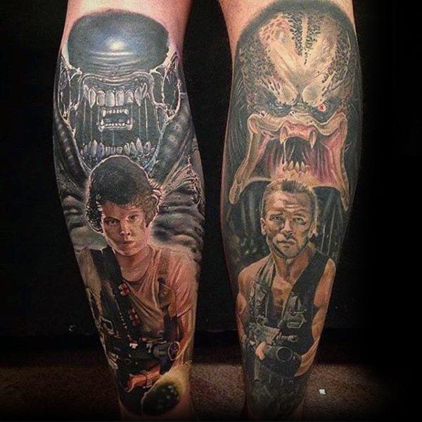 6c3b6f710 Cool Alien Vs Predator Characters From Movie Mens Leg Sleeve Tattoos