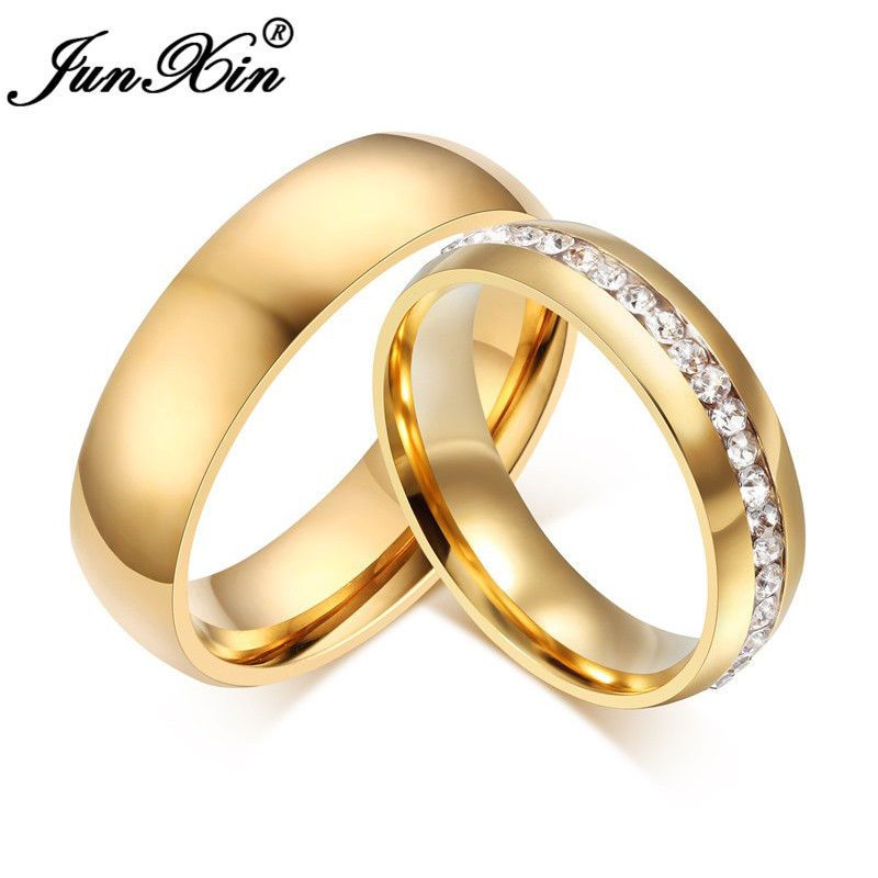 6mm 18k Gold Plated Cz Stainless Steel Wedding Band Couple Ring Men Women Sz5 13 Stainless Steel Wedding Bands Mens Jewelry Gold Plated Wedding Band