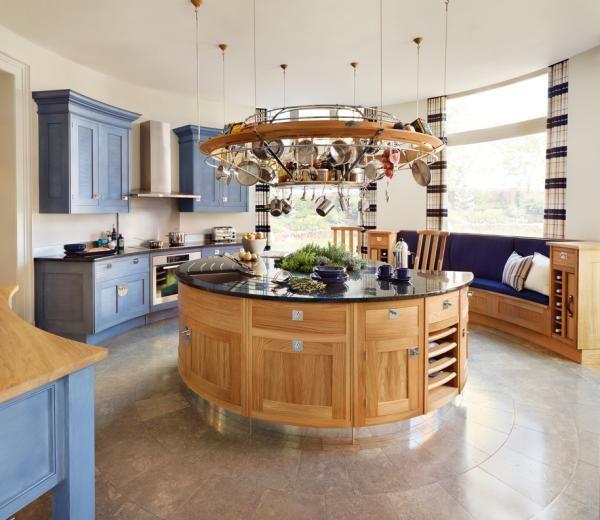 Runde Küche Anordnung Kücheninsel Große Fenste Bank Holz