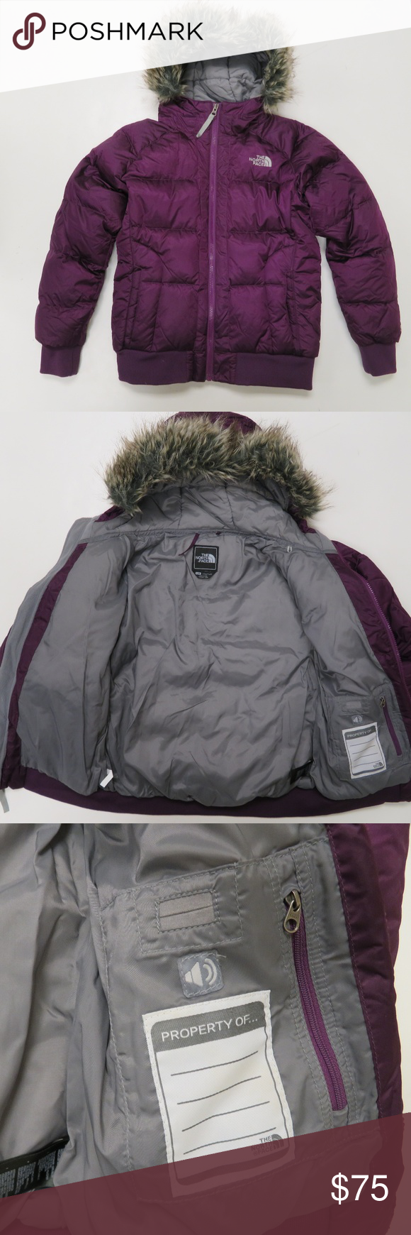 North Face 550 Down Purple Hood Faux Fur Jacket The North Face Girls Size Large Purple 550 Goose Down Puffer Jacket With A F Faux Fur Jacket Fur Jacket Jackets [ 1740 x 580 Pixel ]