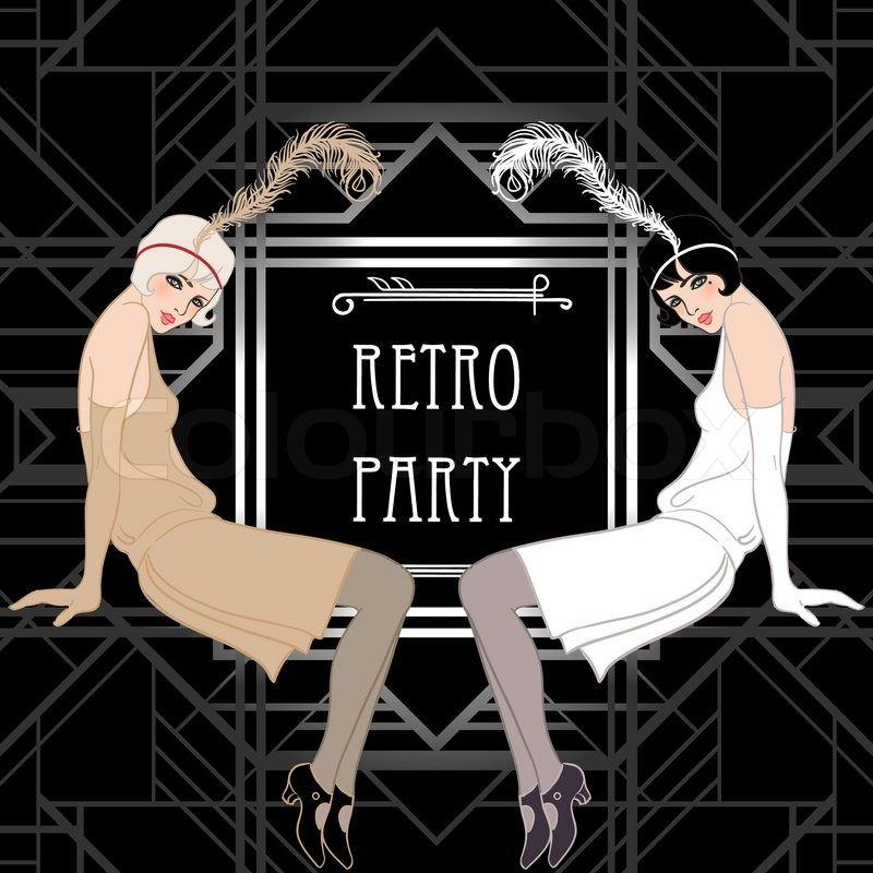 Flapper girl retro party invitation design vector illustration flapper girl retro party invitation design vector illustration great gatsby style stopboris Image collections