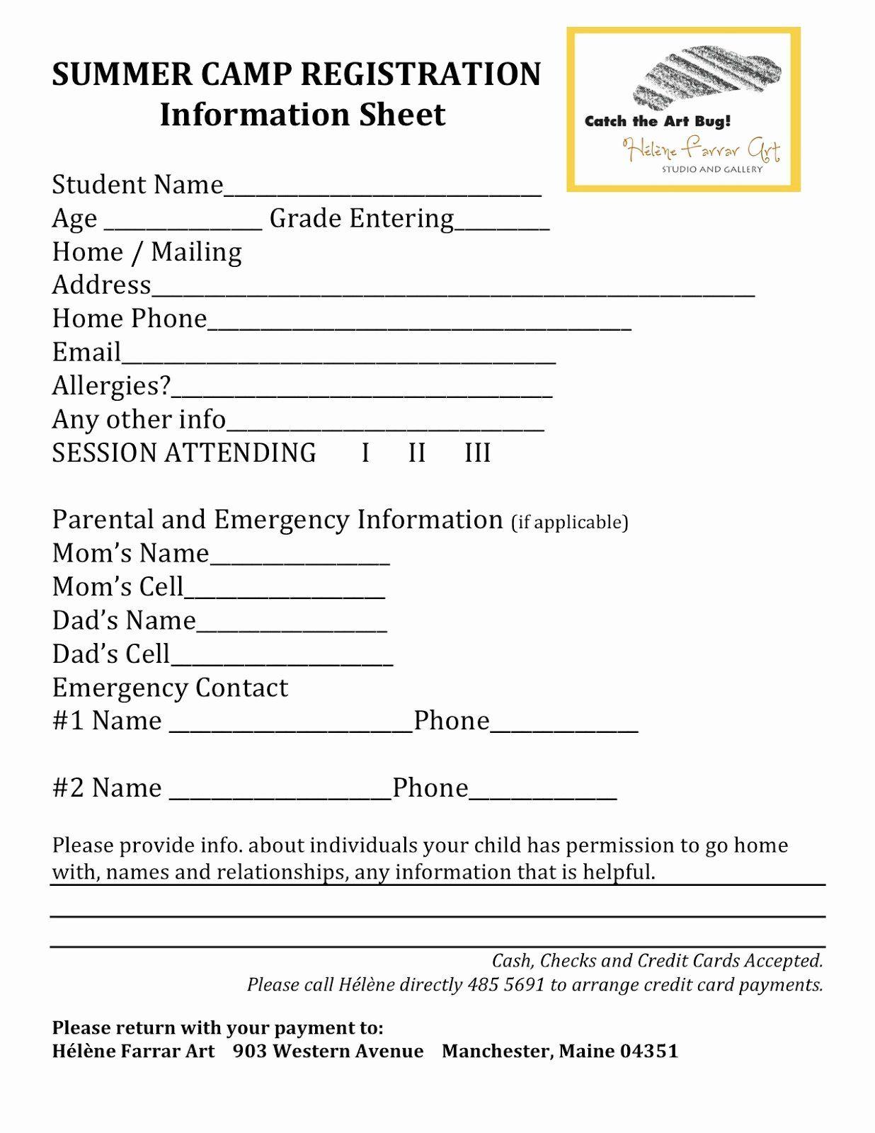 Camp Registration Form Template Word Lovely Registration Form Template Registration Form Registration Summer Camp Summer camp registration form sample