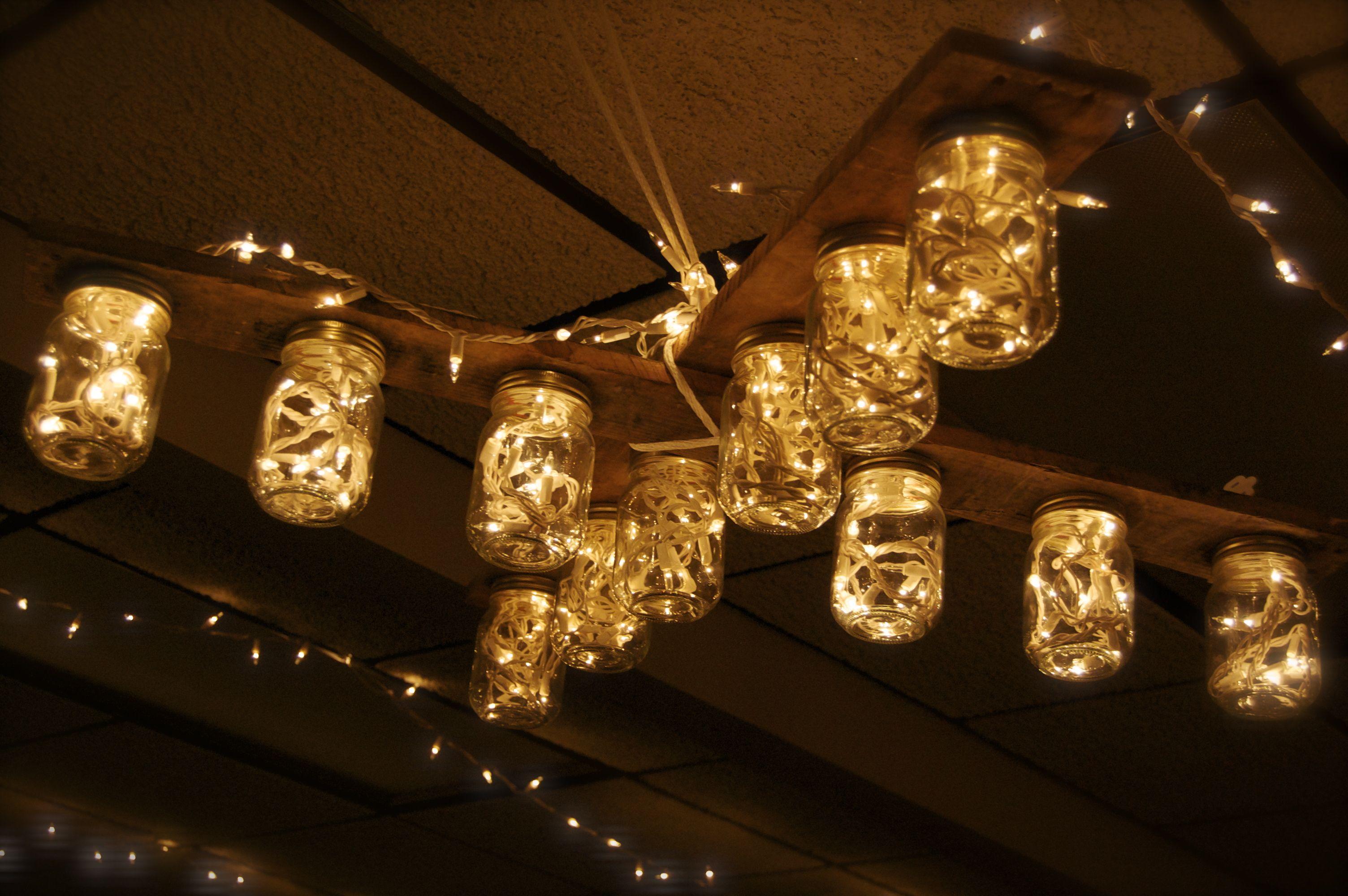 Diy Mason Jars And Christmas Lights Chandelier