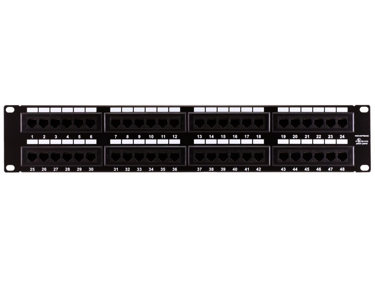 6f921a2a7b1592d2302fee7a01a1c5d8 48 port cat6 patch panel black painted steel panel numbered ports