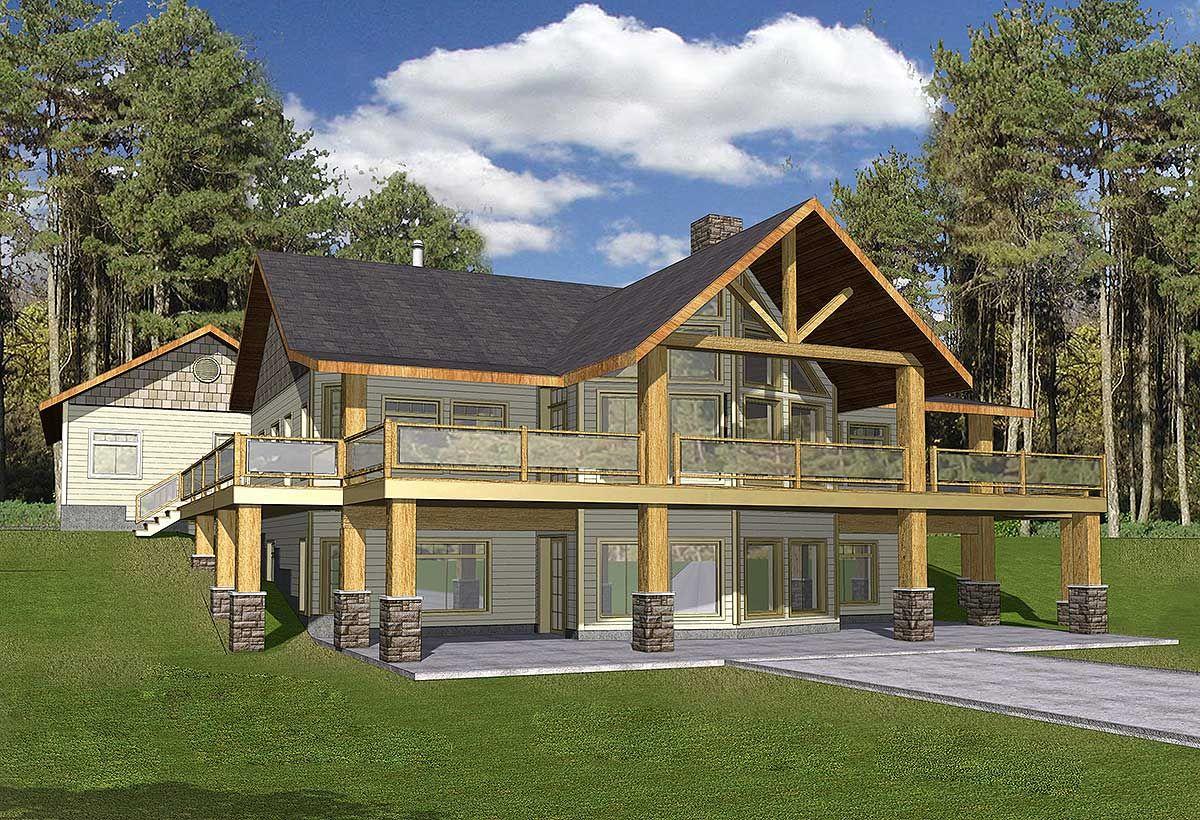 Plan 35427GH Mountain Home with WrapAround Deck A