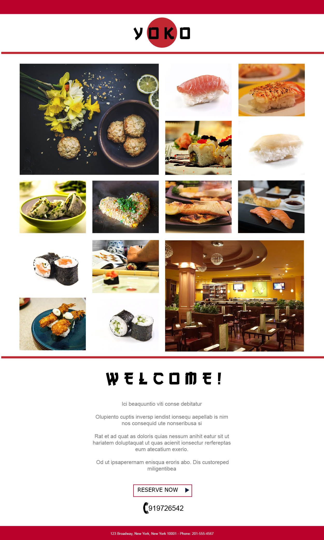 The Wel e Email Introduce your Restaurant with our newly