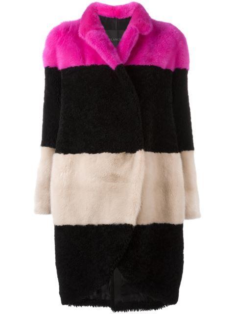 Blancha colour block striped coat