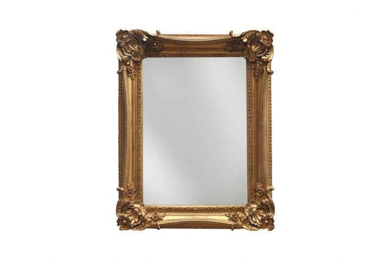 Espejo Ornamento Flor Dorado