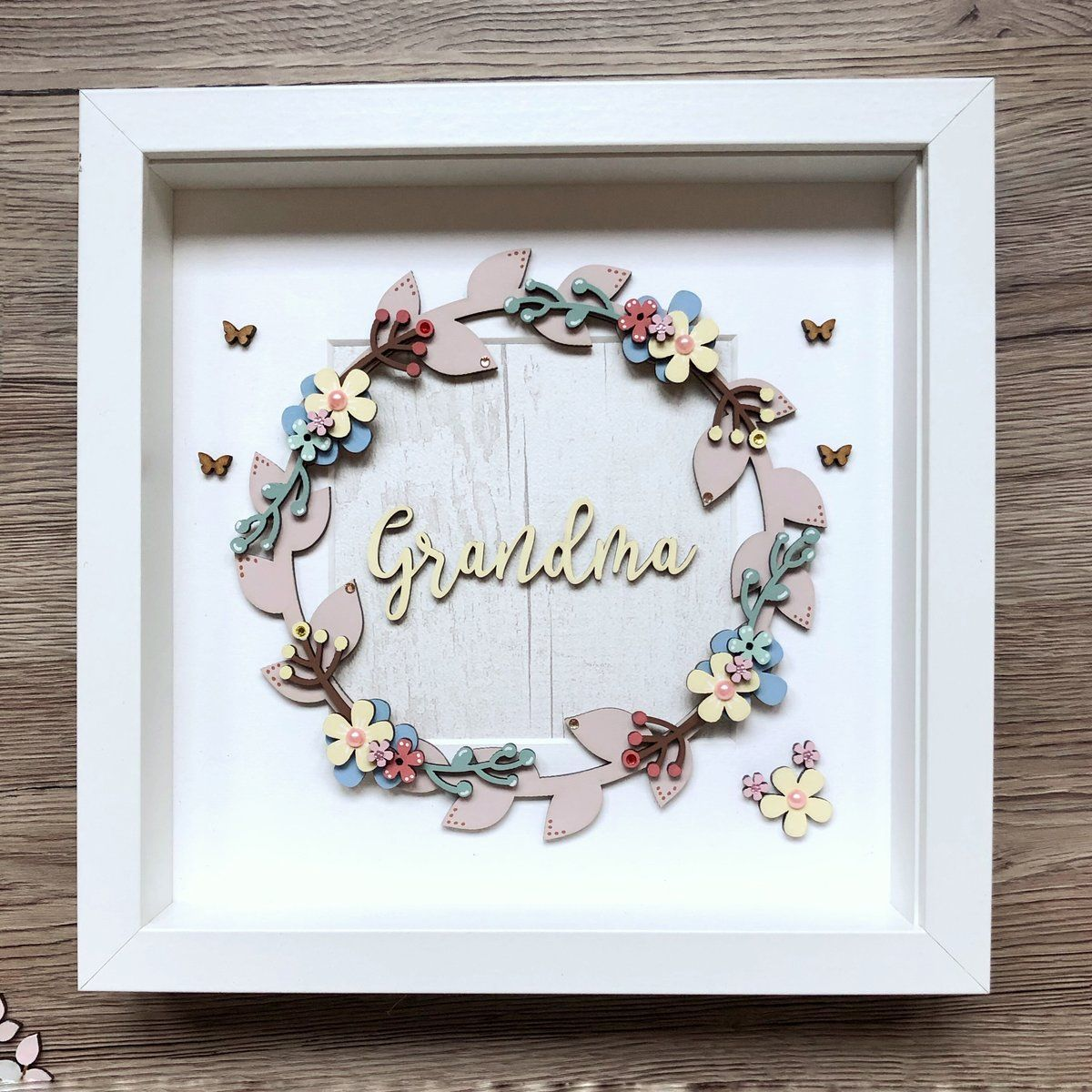 Grandma nana nan hand painted flower wreath frame all