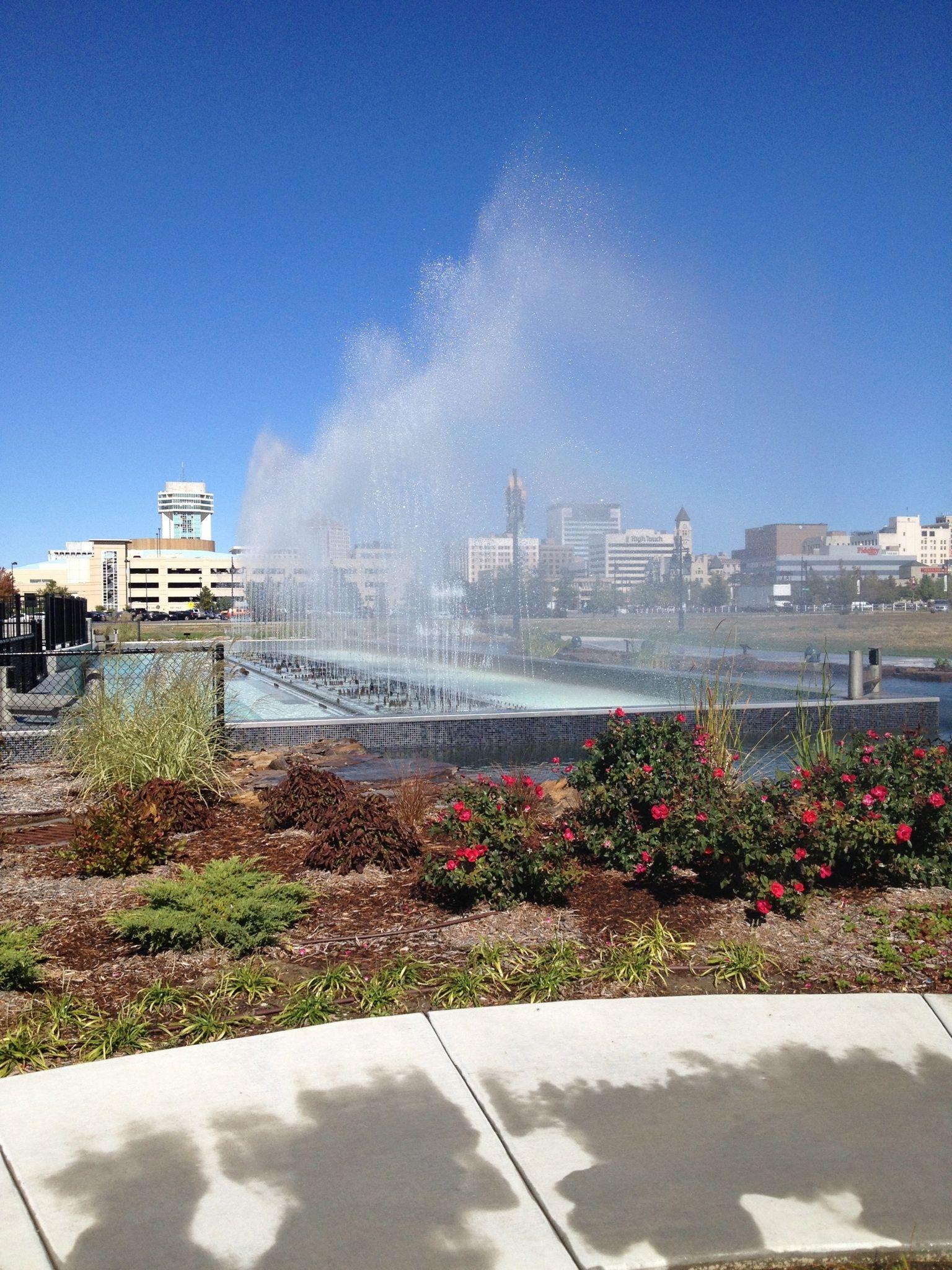 Fountains At Waterwalk In Downtown Wichita Ks Natural Landmarks