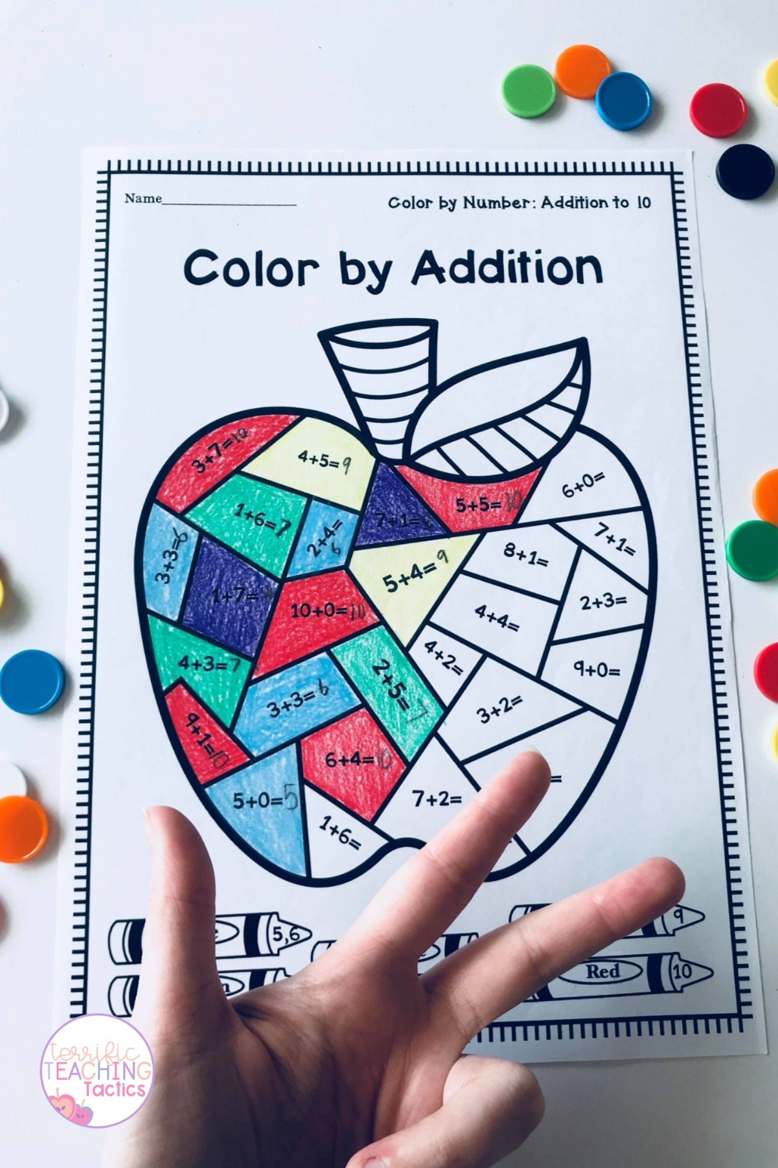 Color By Addition Worksheets Back To School In