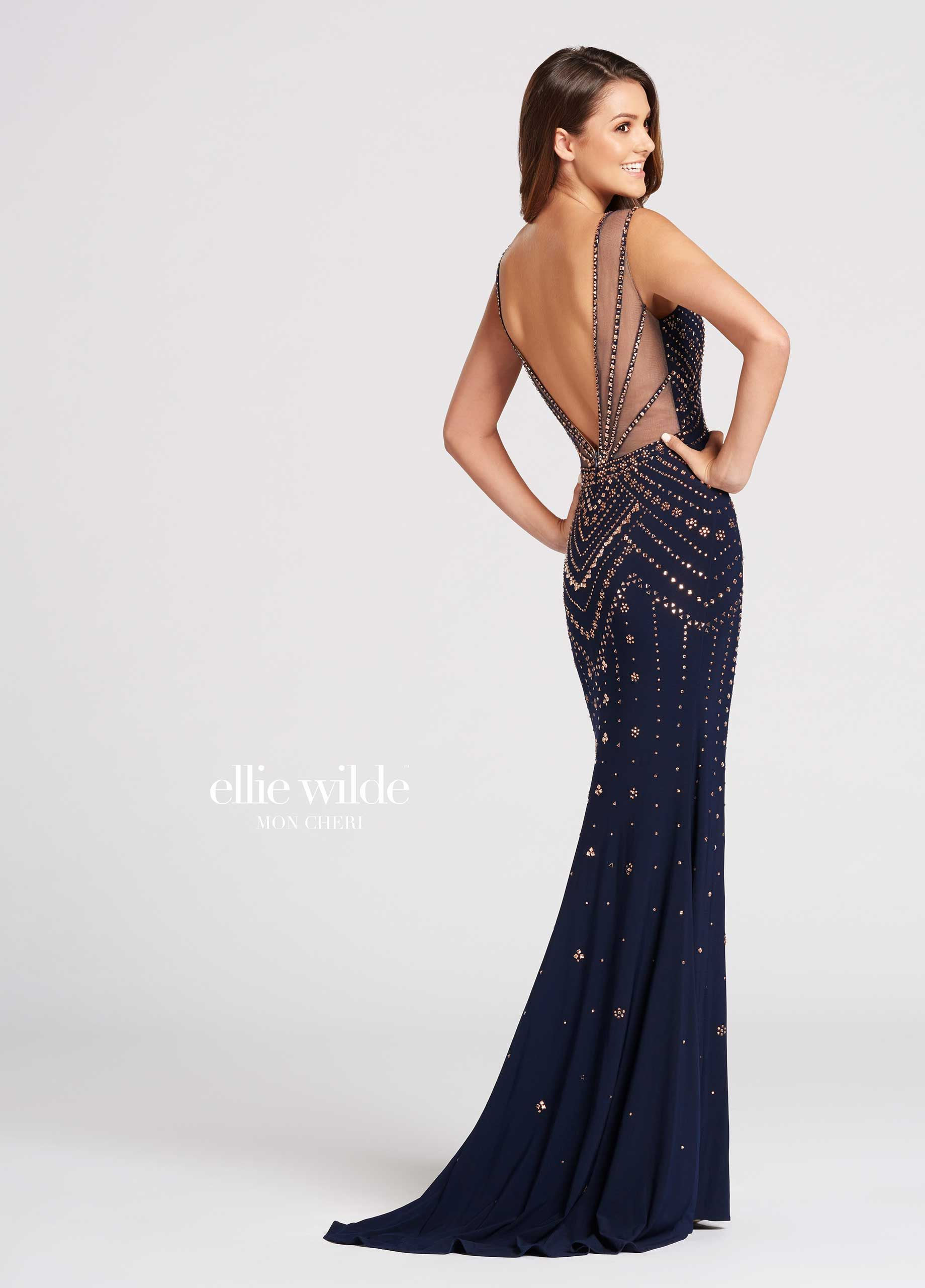 Ellie Wilde EW118049 - Sleeveless jersey fit and flare dress with curved  plunging V-neckline d46484044