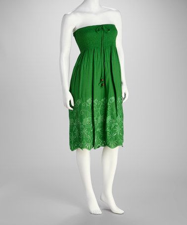 Take a look at this Green Shirred Strapless Dress by SR Fashions on #zulily today!