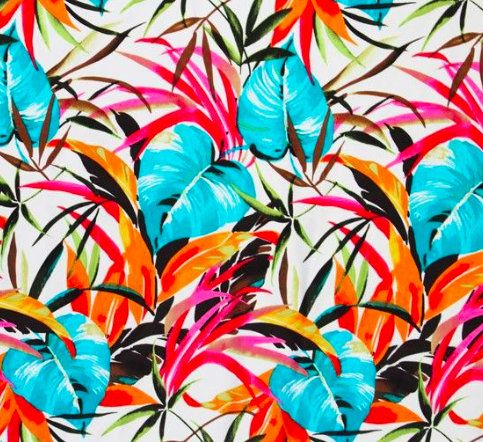 ca4128d2a494b Bright fun tropical swimsuit fabric. Strong Stretchy material palm print in  bright colors. Swimsuit