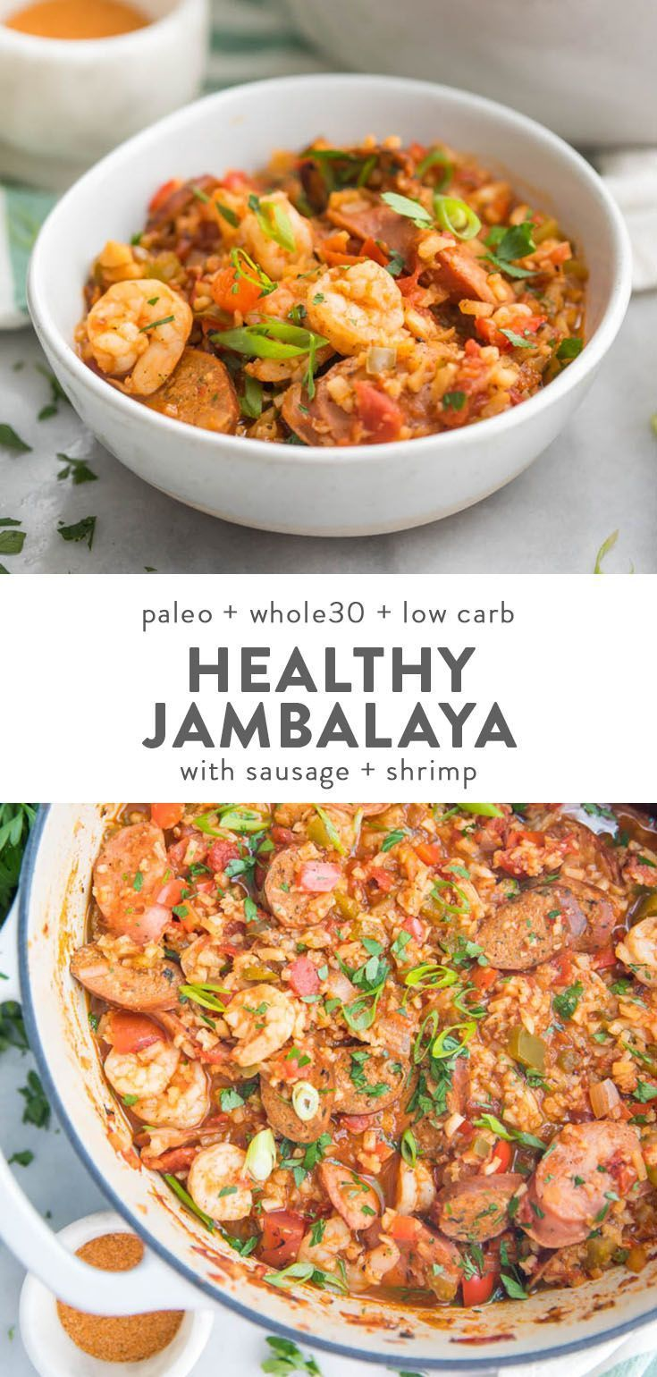 Healthy Jambalaya with Sausage & Shrimp (Whole30, Low Carb, Paleo)