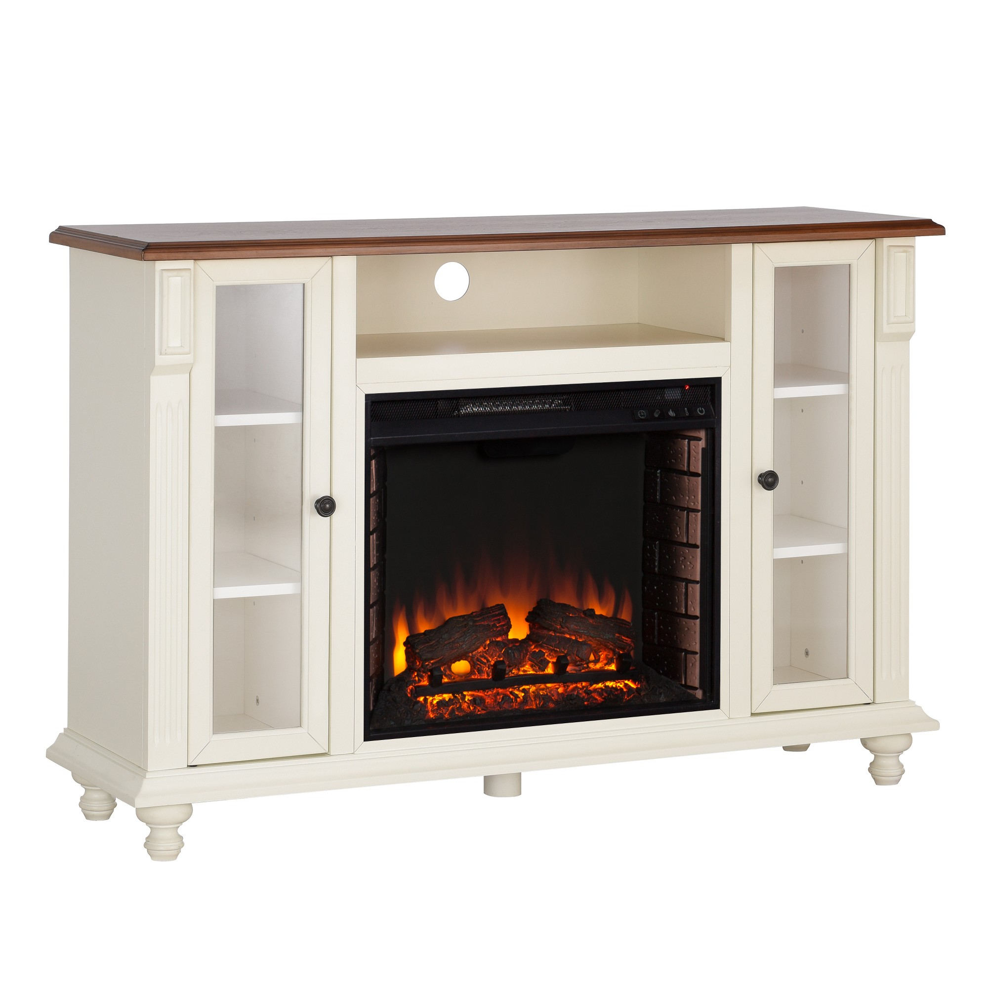 Captio Electric Fireplace Tv Stand Antique White Aiden Lane