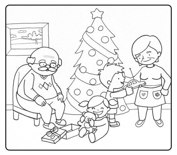 Dibujo Familia En Navidad