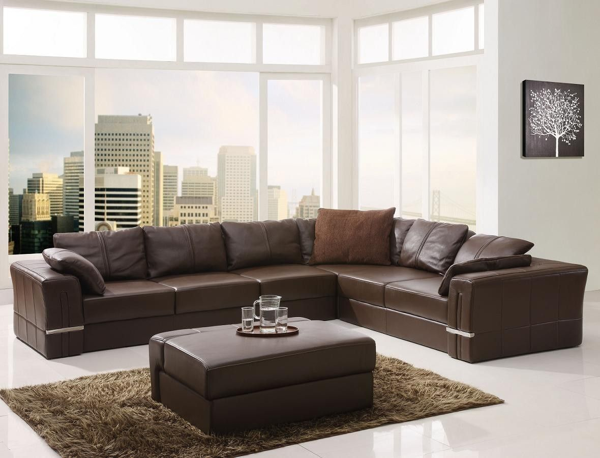Modern Leather Sectional Sofa and Ottoman