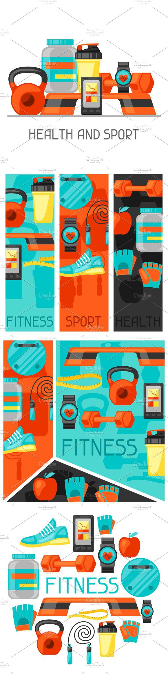 Sports and fitness backgrounds.. Sport Icons. $11.00