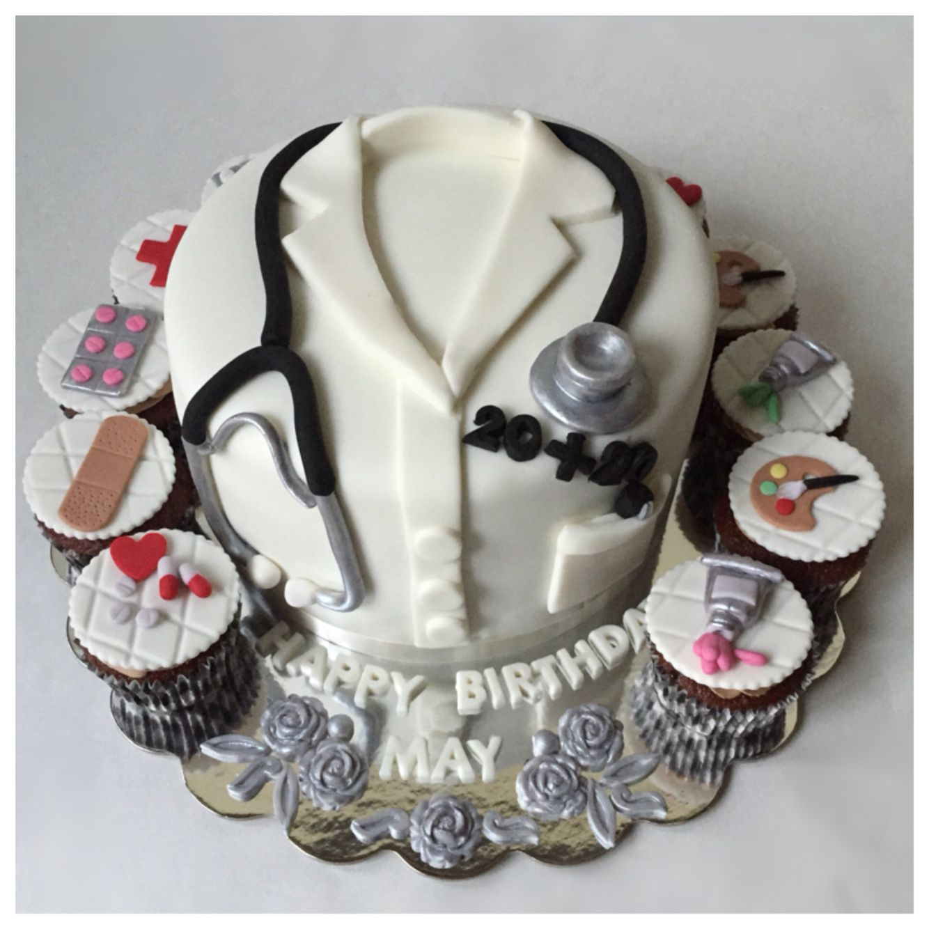 Doctor and artist birthday cake and cupcakes My cakes Pinterest