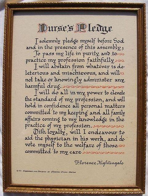 Nurse\u0027s Pledge by Florence Nightingale - Early Goodman Print THE