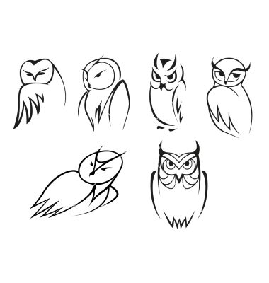 Owl Bird Icons In Doodle Outline Style Vector Image On Dessin Chat Facile Chouette Tatouage Hibou Dessin