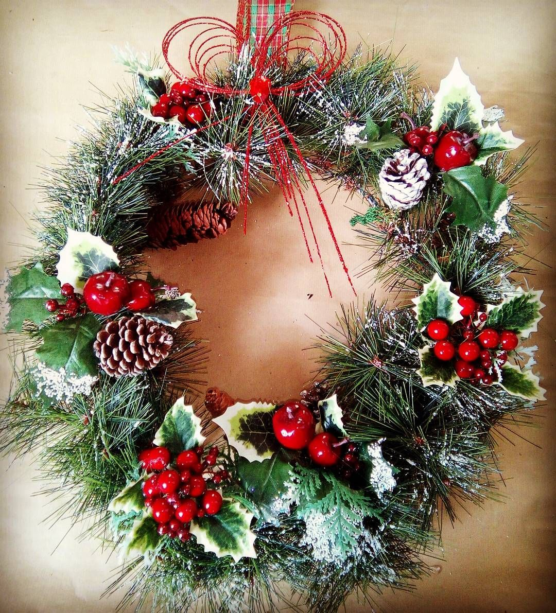 Only 47 days until the main event  #christmas #christmasdecor #traditional #christmashome #decorideas #handemadechristmas #wreath #spruce #pinecones #holly #availabletoorder #artificialwreaths #instachristmas