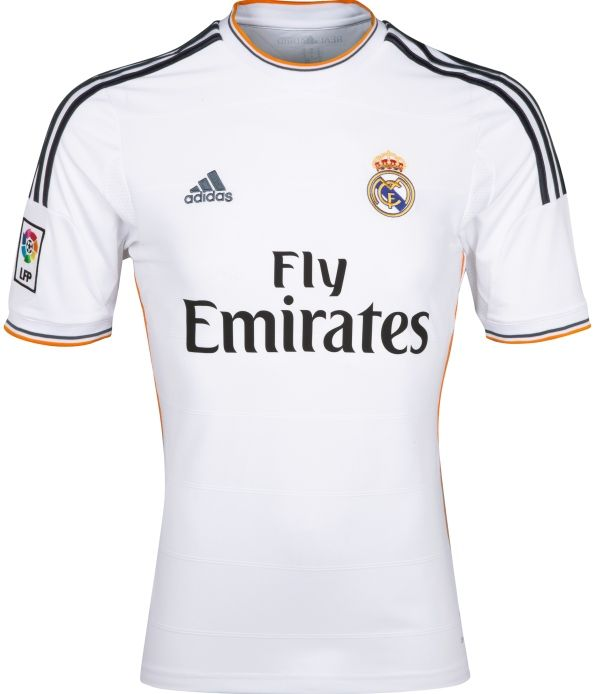 00da25695 And this for Marius - he loves any shirt as long as it has Adidas stripes  down the sleeves . Real Madrid Home Shirt 13-14 Adidas Fly Emirates