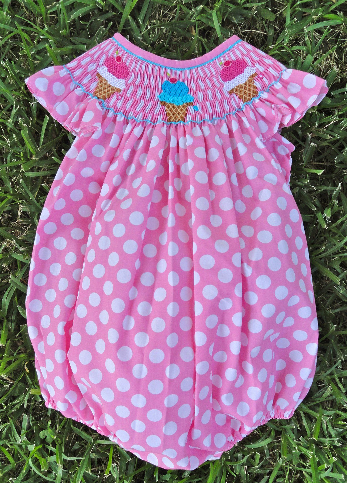 Smocked Ice Cream Bubble with large pink polka dots ...