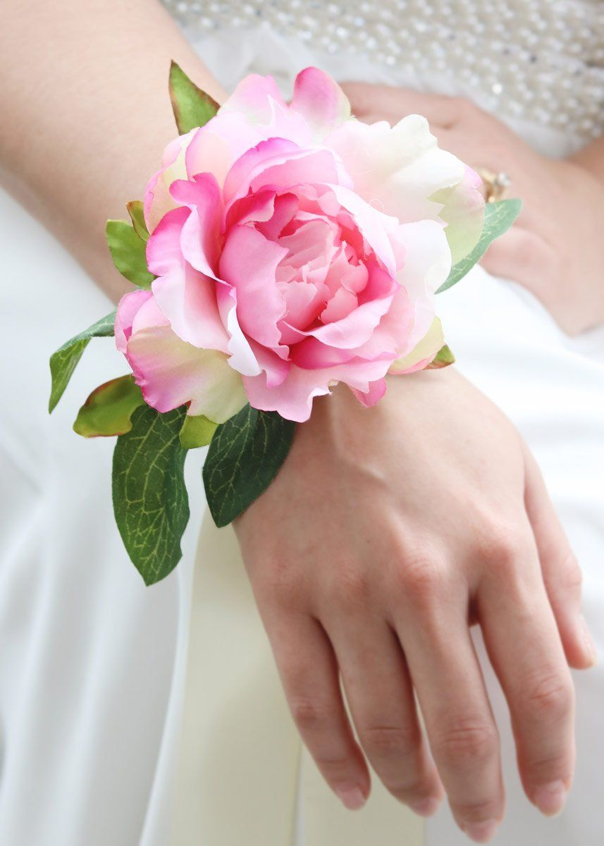 Pink Peony Silk Wrist Corsage 4 425 Bloom Wedding Pinterest