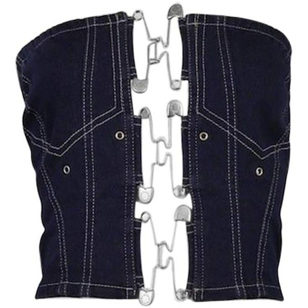 For Sale on 1stdibs - Vintage Jean Paul Gaultier denim bustier featuring safety  pins closures at the front. 478627c00