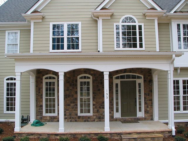 Hardiplank Siding W Vinyl Boxing And Arched Azek Porch