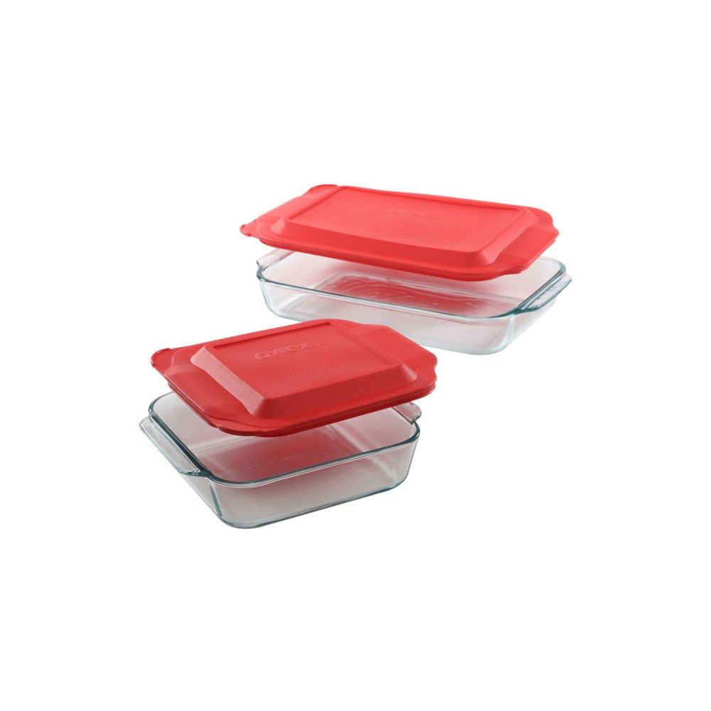 Pyrex 4pc Bakeware Value Set Red Pyrex Bakeware Cookware Set