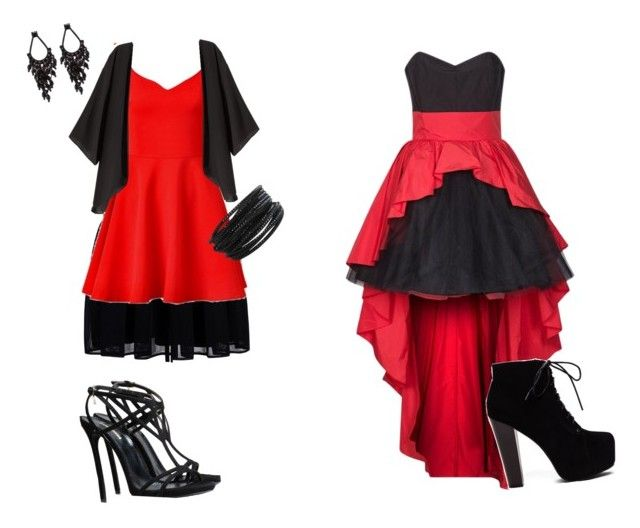 """queen of hearts"" by allygo ❤ liked on Polyvore featuring DKNY, H&M, Swing, Pieces and Dsquared2"